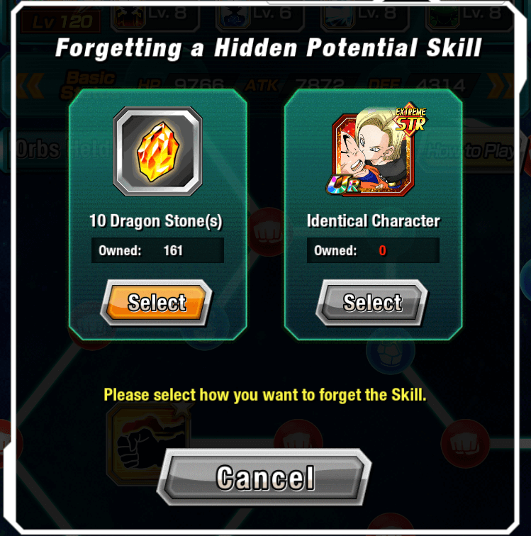 Ingame  screenshot of forgetting a Hidden Potential Skill