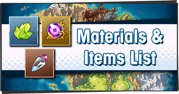 Materials and Items List