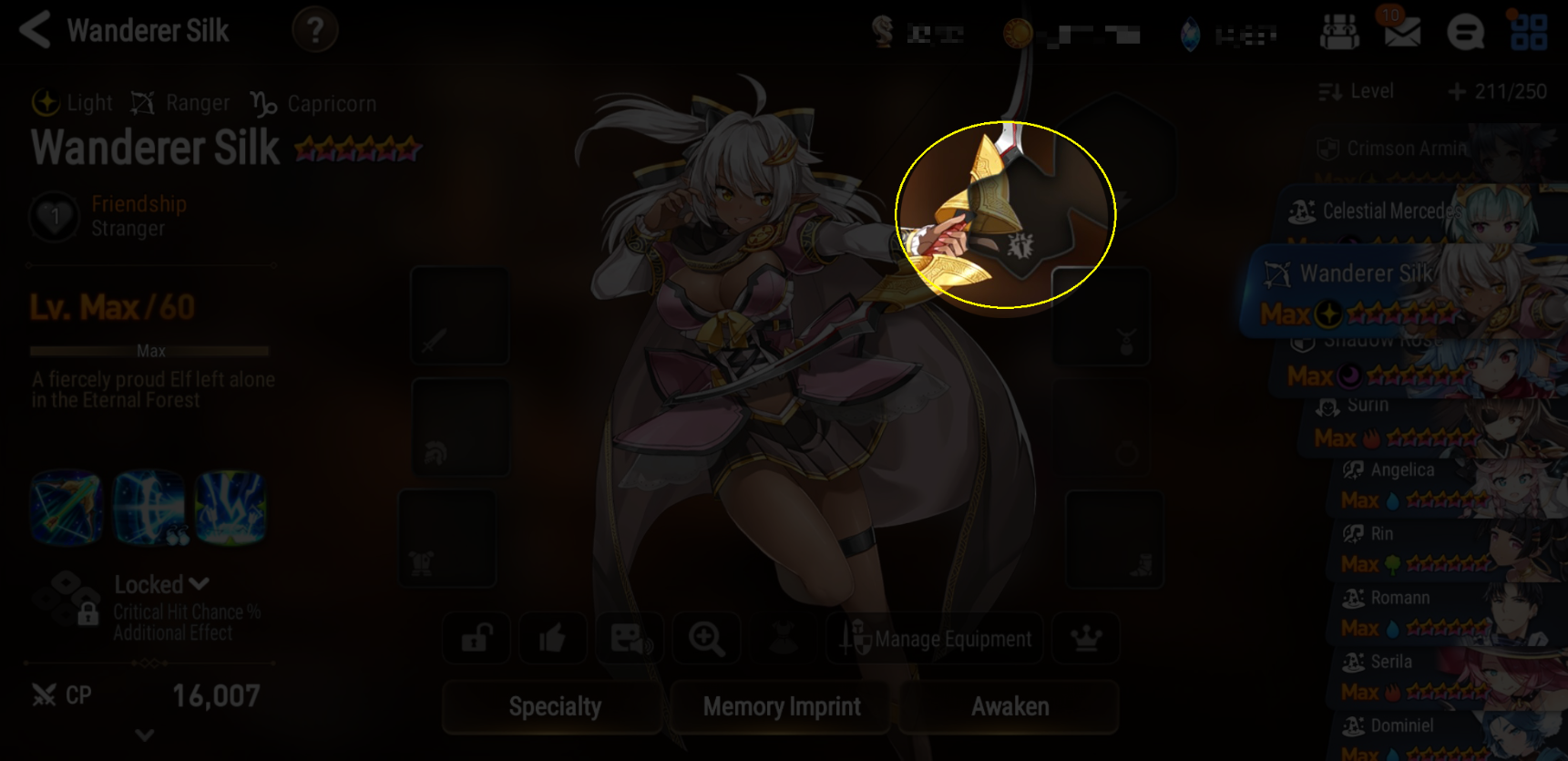 Exclusive Equipment Slot Position on Character Screen
