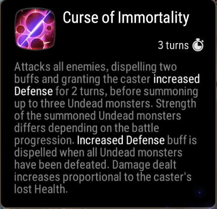 Curse of Immortality Skill Description