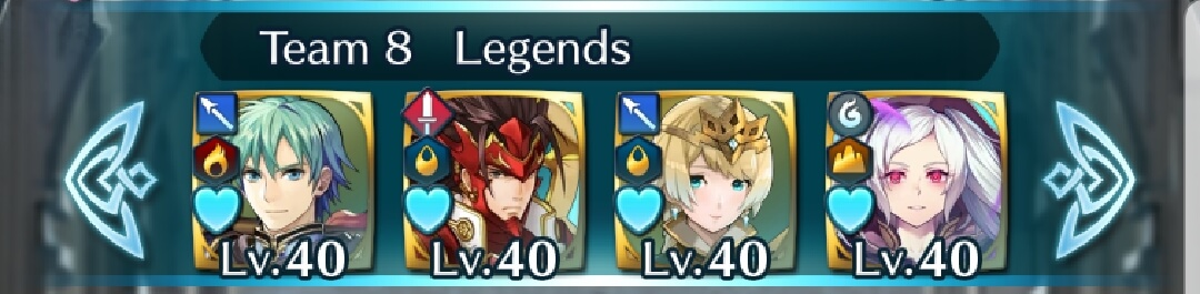 A display of legendary heroes on a team