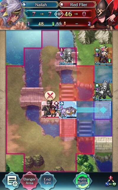camilla draws back nailah and nailah attacks the red flying mage screenshot