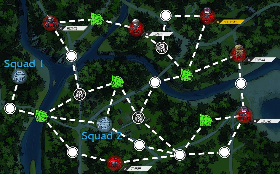 Radar Nodes will illuminate up to two adjacent Nodes when captured, granting you greater visibility.