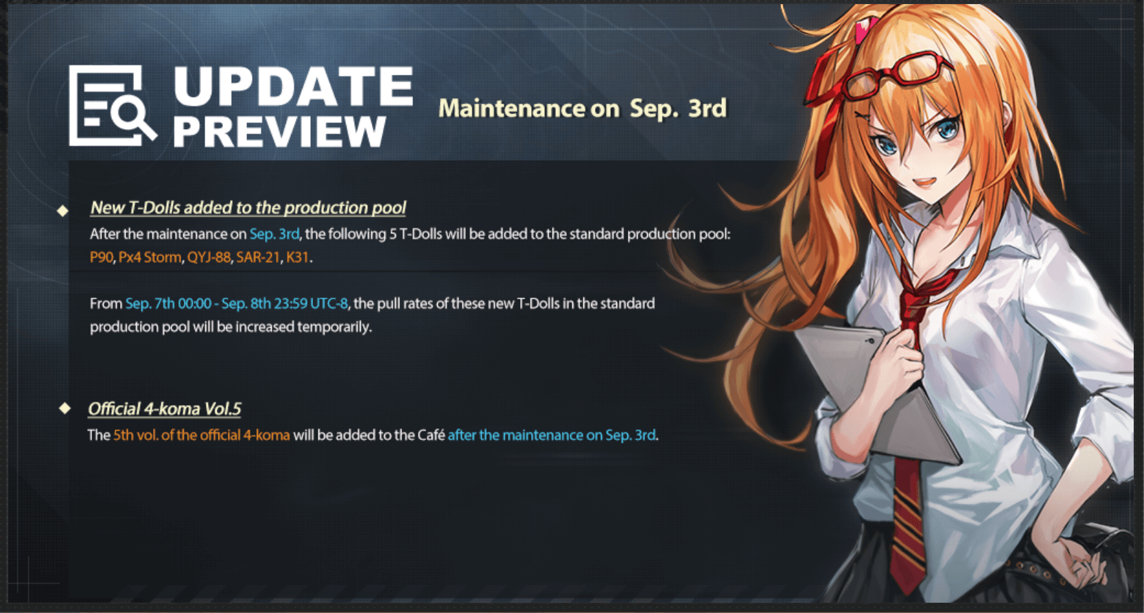 Update Preview and maintenance notes for Girls Frontline September 3rd maintenance