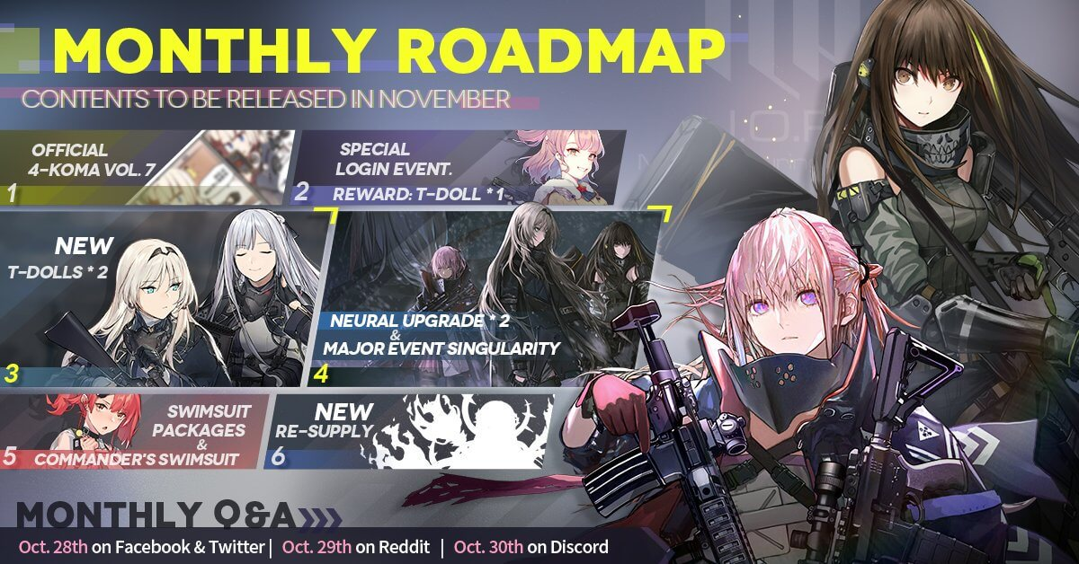 Official Girls' Frontline November Roadmap, featuring the major Singularity story event and the anticipated Dark Labyrinth Costume Re-Supply Gacha.