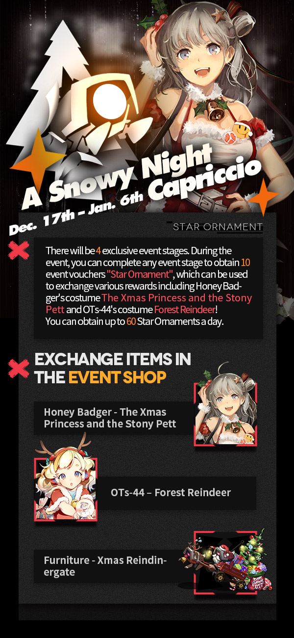 "Part 1 of the Star Ornament Event Shop for GFL's ""A Snowy Night Capriccio"" Xmas Event"