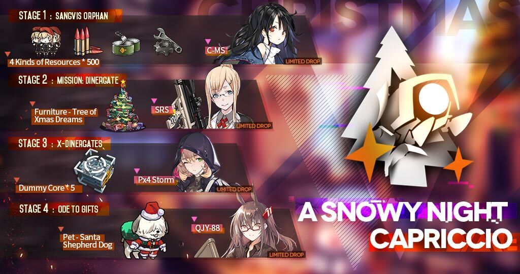 "Official rewards infographic for the Christmas 2019 ""A Snowy Night Capriccio"" GFL EN Event."