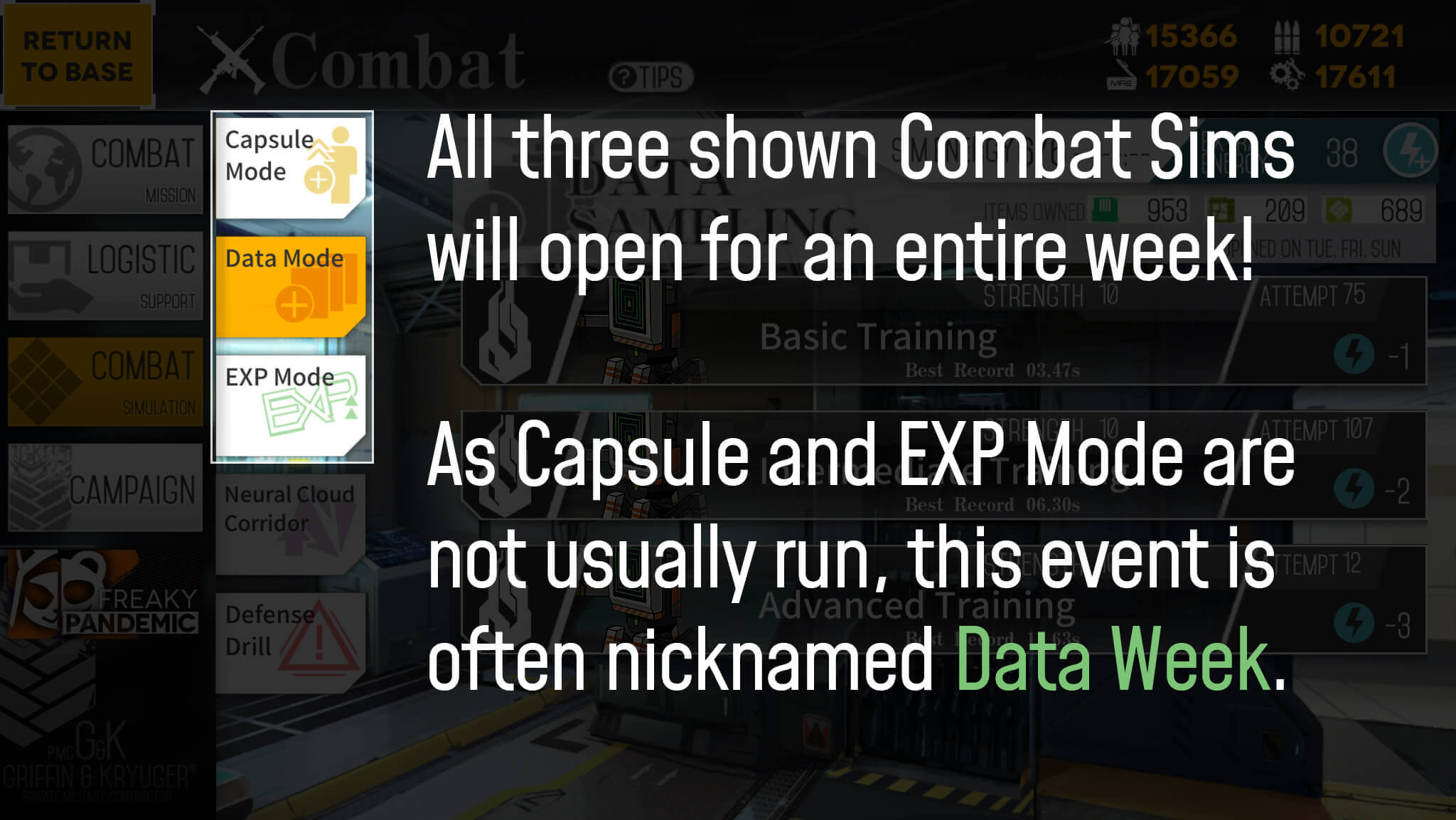 Image explaining combat simulation special event