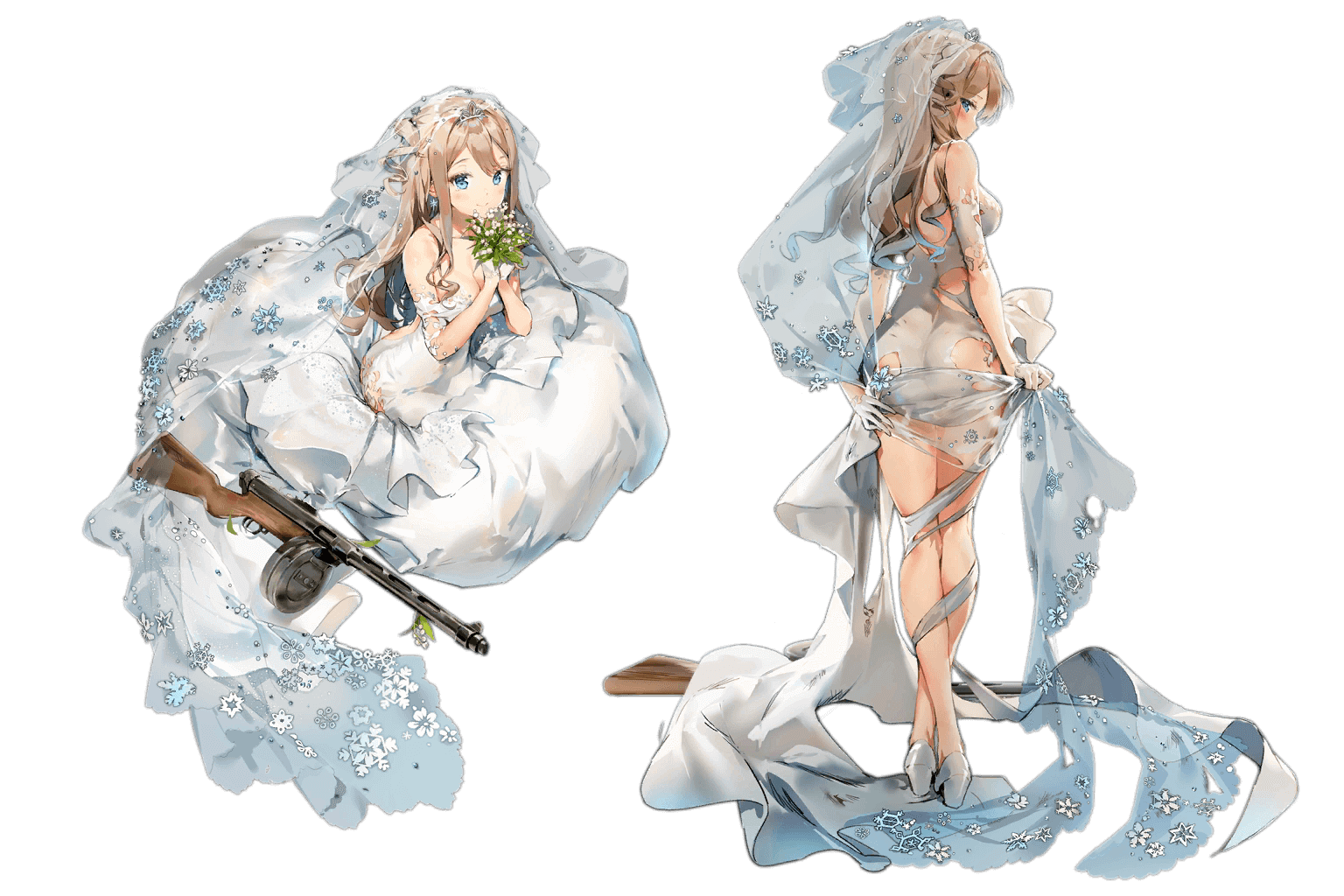 "Suomi's ""Blissful Mission"" Live2D Costume, normal and damaged art"
