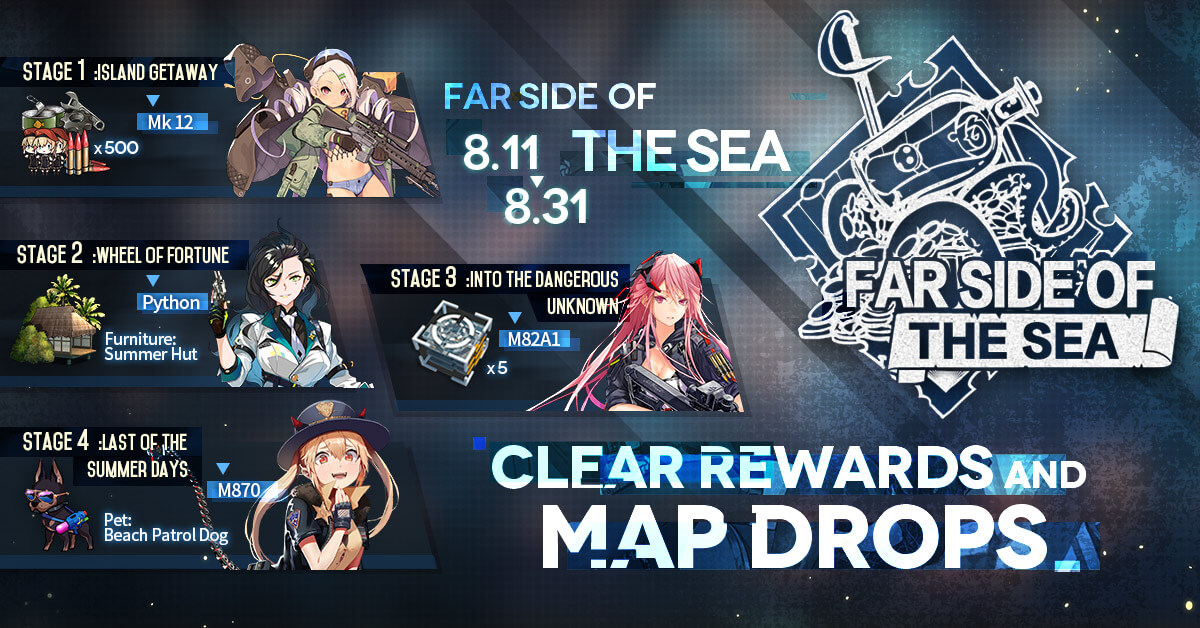 Official Infographic containing Summer 2020 Stage Clear Rewards and Limited Drops