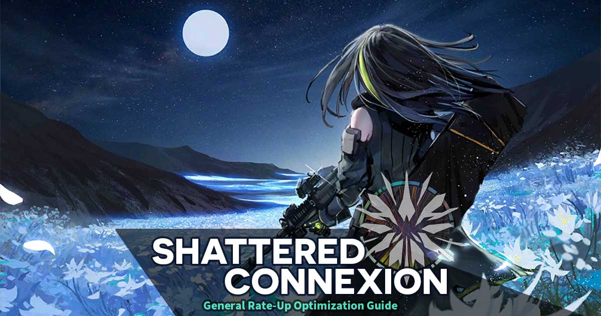 "Main Banner for ""General Rate-Up Optimization: Shattered Connexion Edition"" featuring M4A1 in a field of flowers that will become very important to the story..."