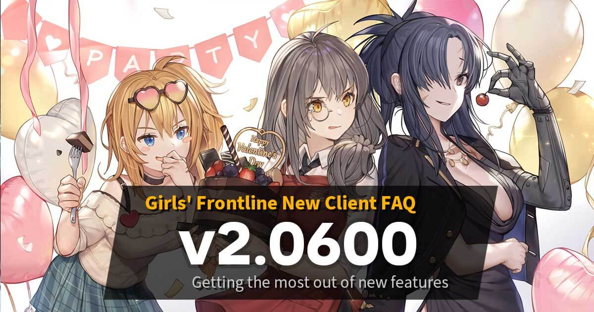"Banner for ""Summary and Frequently Asked Questions about the new Girls' Frontline v2.0600 client, released after maintenance on September 22nd 2020!"" which is actually the Valentines' Day login screen from 2019, but no one will read this alt text anyway even though it helps with SEO."