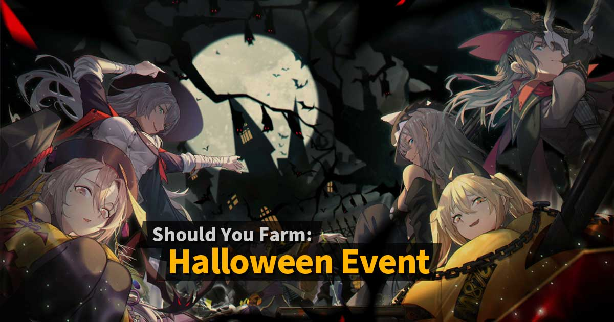 "Banner for the Halloween 2019 rerun event on Girls' Frontline, and its corresponding ""Should You Farm"" article covering the Halloween rerun drops in Girls' Frontline, consisting of KSVK, Cx4 Storm, TAC-50, and AK-74U."