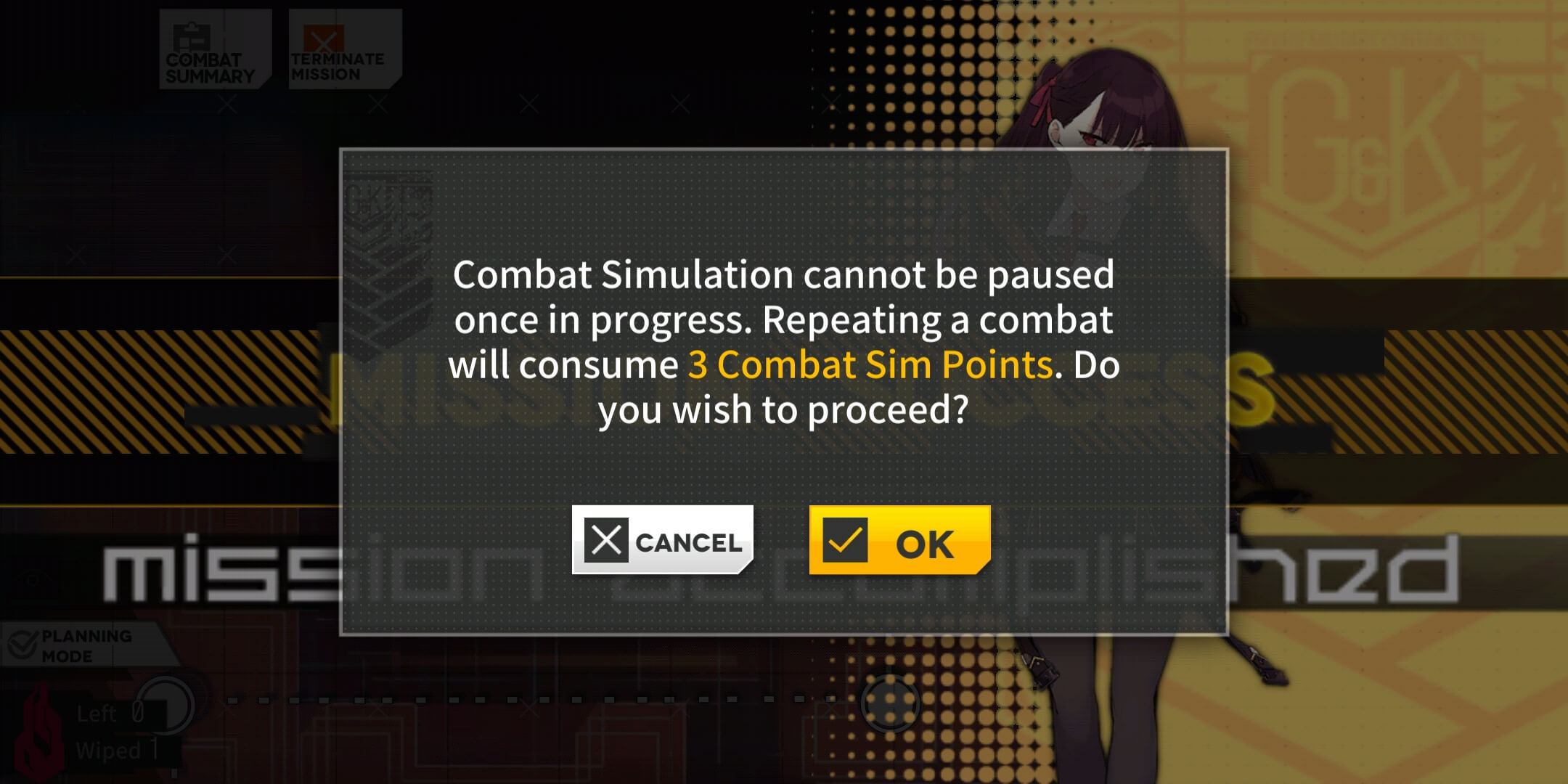 "Combat Sim Auto-Repeat Dialog: ""Combat Simulation cannot be paused once in progress. Repeating a combat will consume [x] Combat Sim Points. Do you wish to proceed?"""