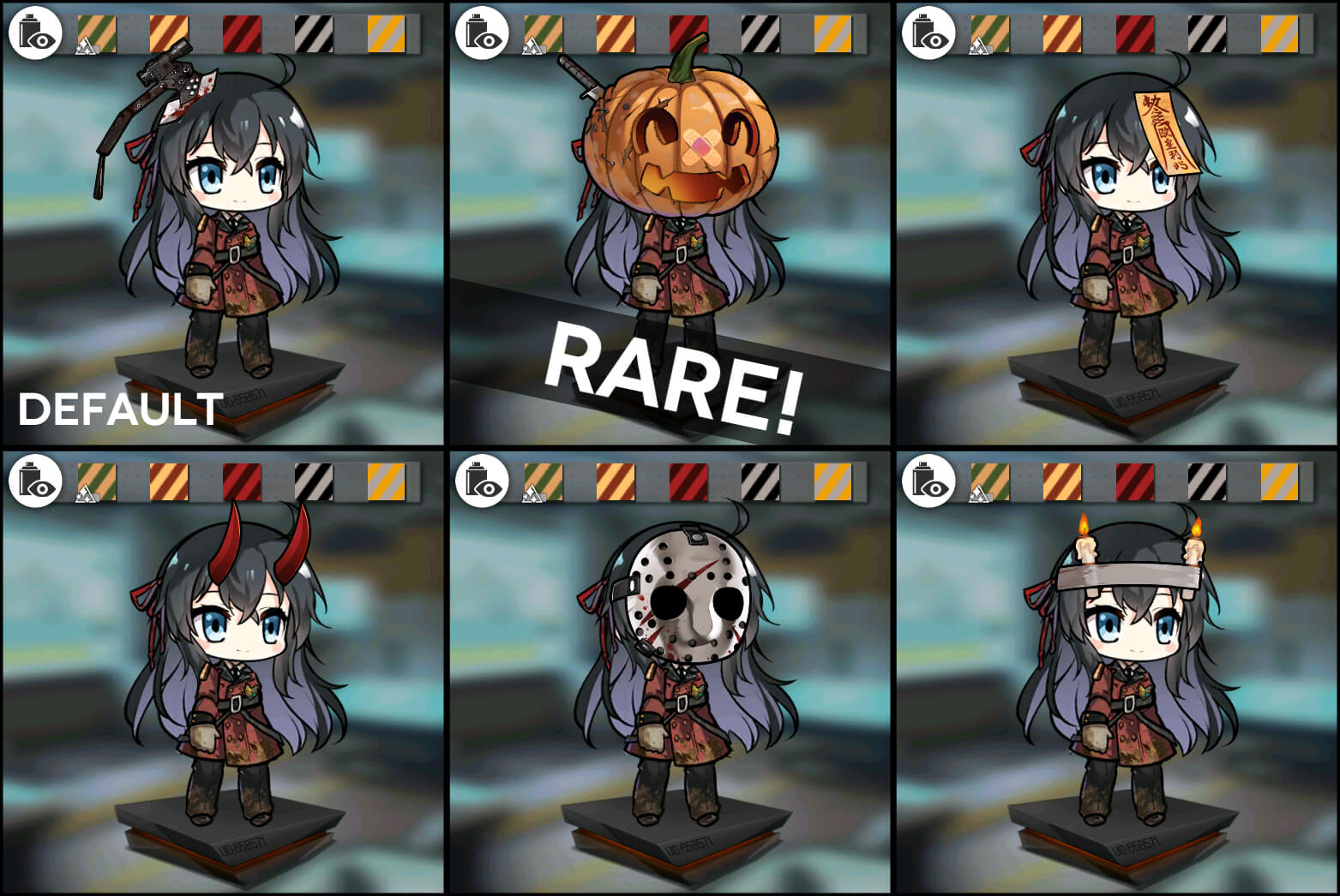 "Preview of all six variants of the ""Blood Moon on Halloween"" headgear for Shikikan's Closet customization"