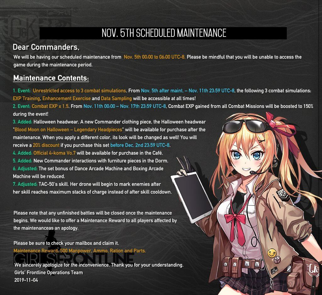 Full Version of the Girls' Frontline November 5th Update Notes