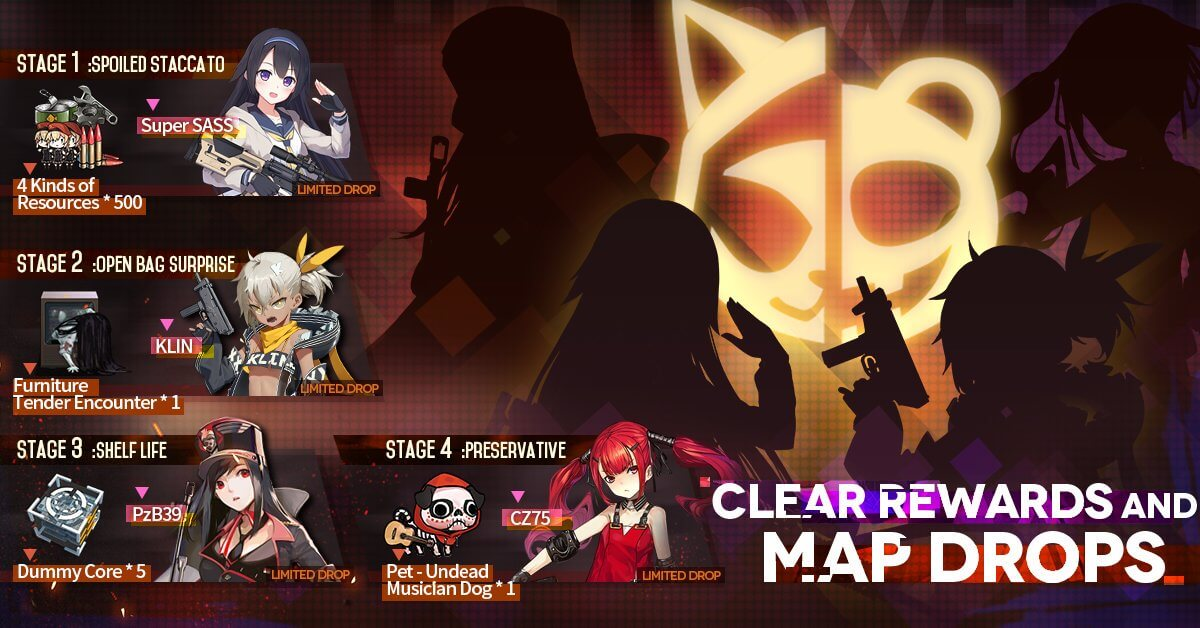 Official EN clear rewards for the Freaky Pandemic event, showing Super SASS, KLIN, PzB39, and CZ75
