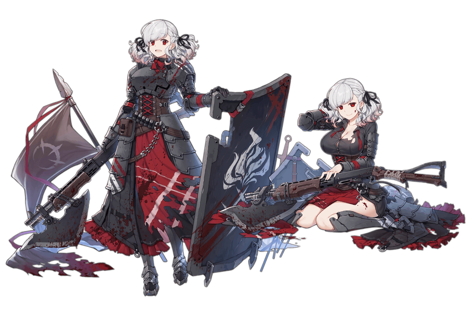 "SPAS-12's ""Goblin Hunter"" costume, regular and damaged art"