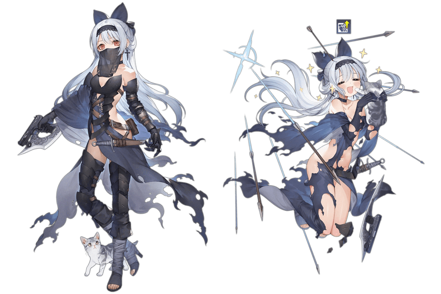 "Tokarev's ""Griffin Dancer"" costume, regular and damaged art"