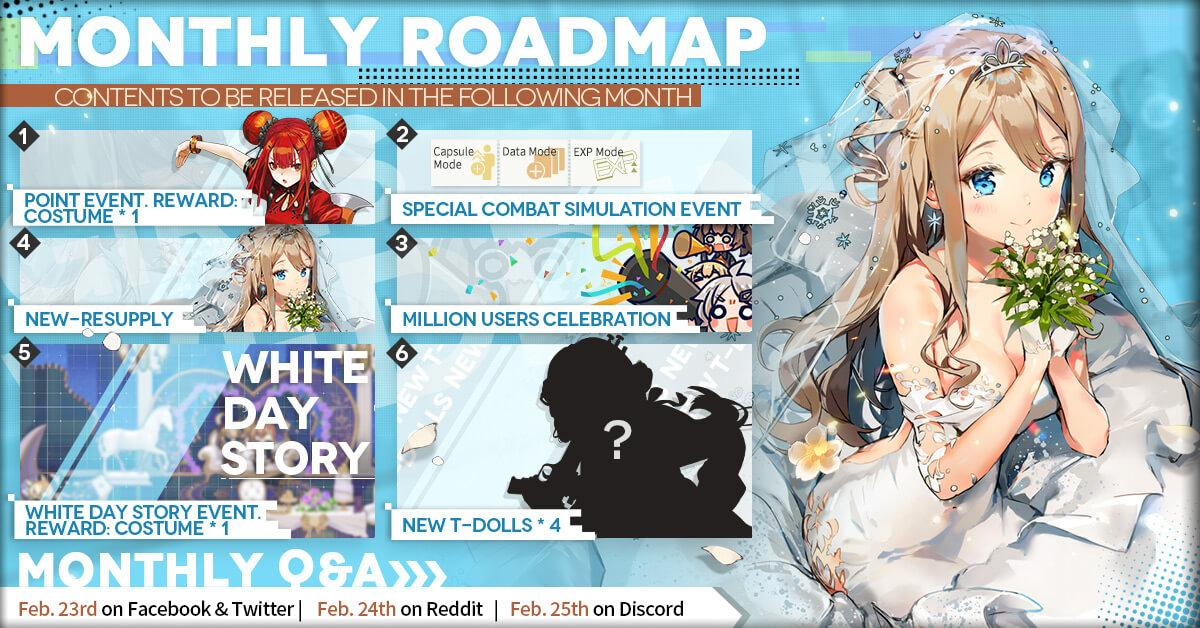 Official Girls' Frontline March 2020 Monthly Roadmap, featuring QBU-88, the brand new White Day Event, new costume gachas and more.