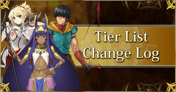 Tier list Change Log