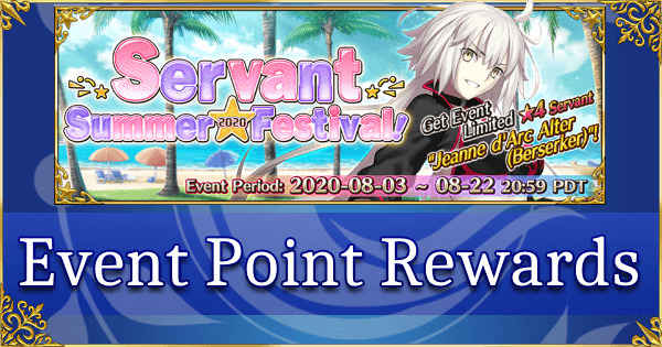 FGO Servant Summer Festival 2020   Point Rewards | Fate Grand