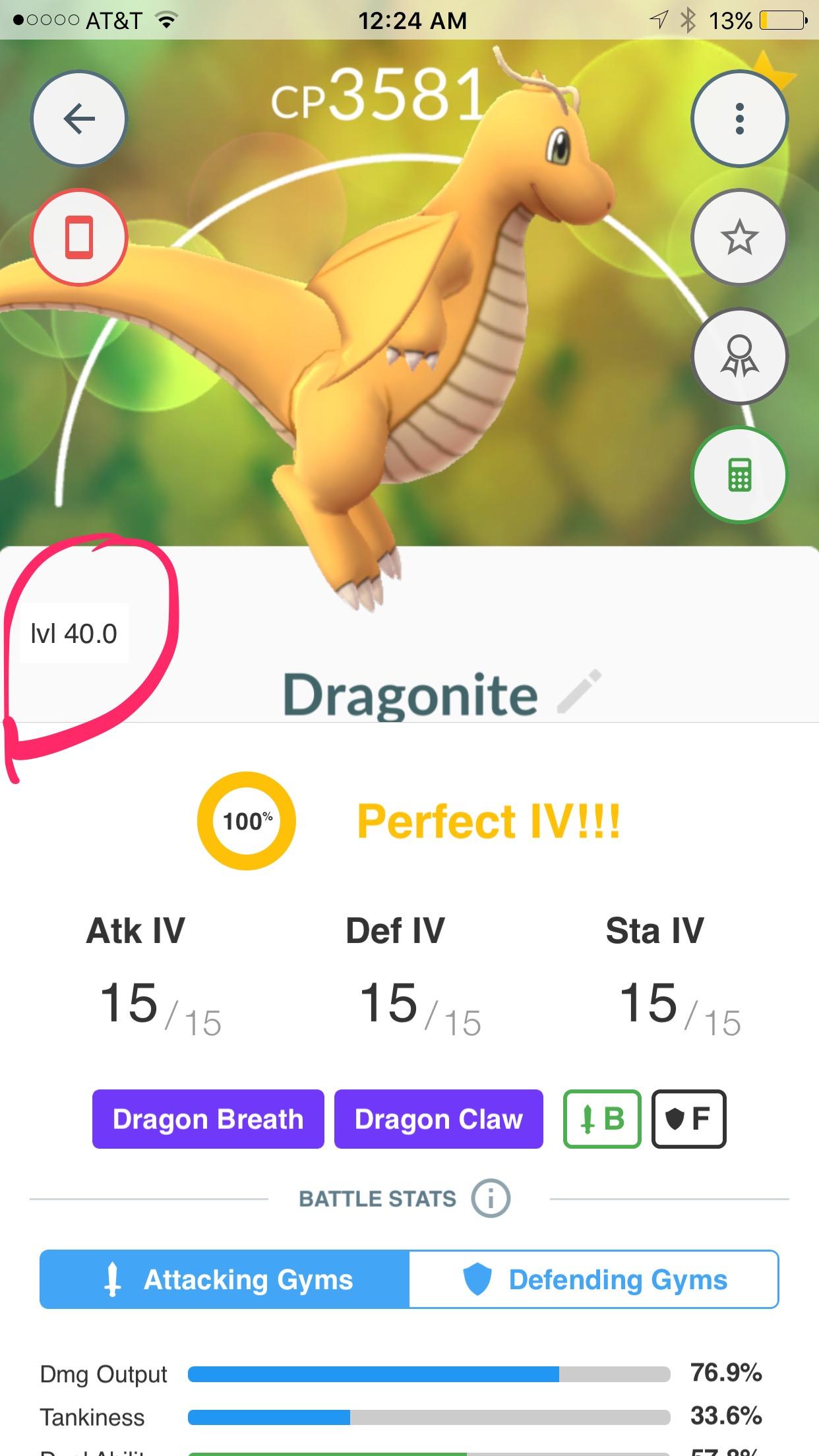 100 IV level 40 Dragonite DB/DC Legacy | Pokemon GO Wiki - GamePress