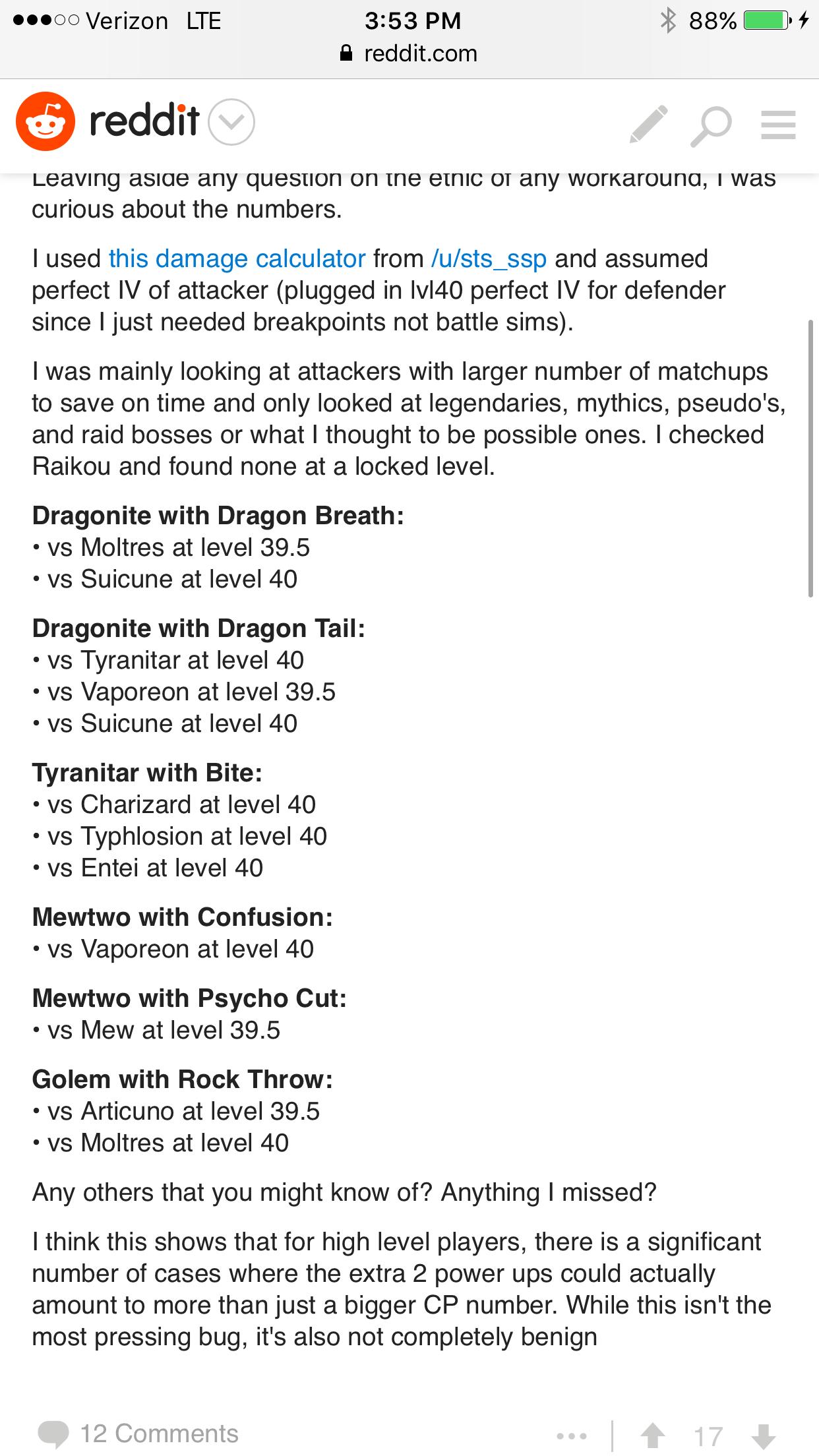 Raid damage cutoffs for Mons lvl 39 5 - 40 | Pokemon GO Wiki