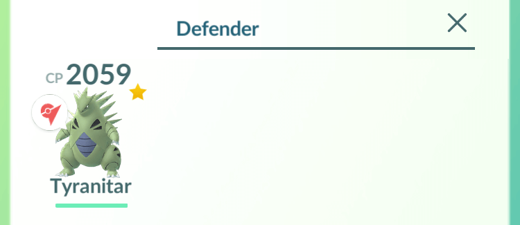 Search by Gym Defending status