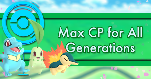 Max CP for All Pokemon Generations