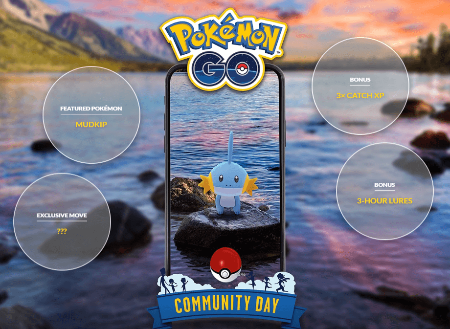 Community Day July 2019 Features Mudkip on July 21st, Starts 1 Hour