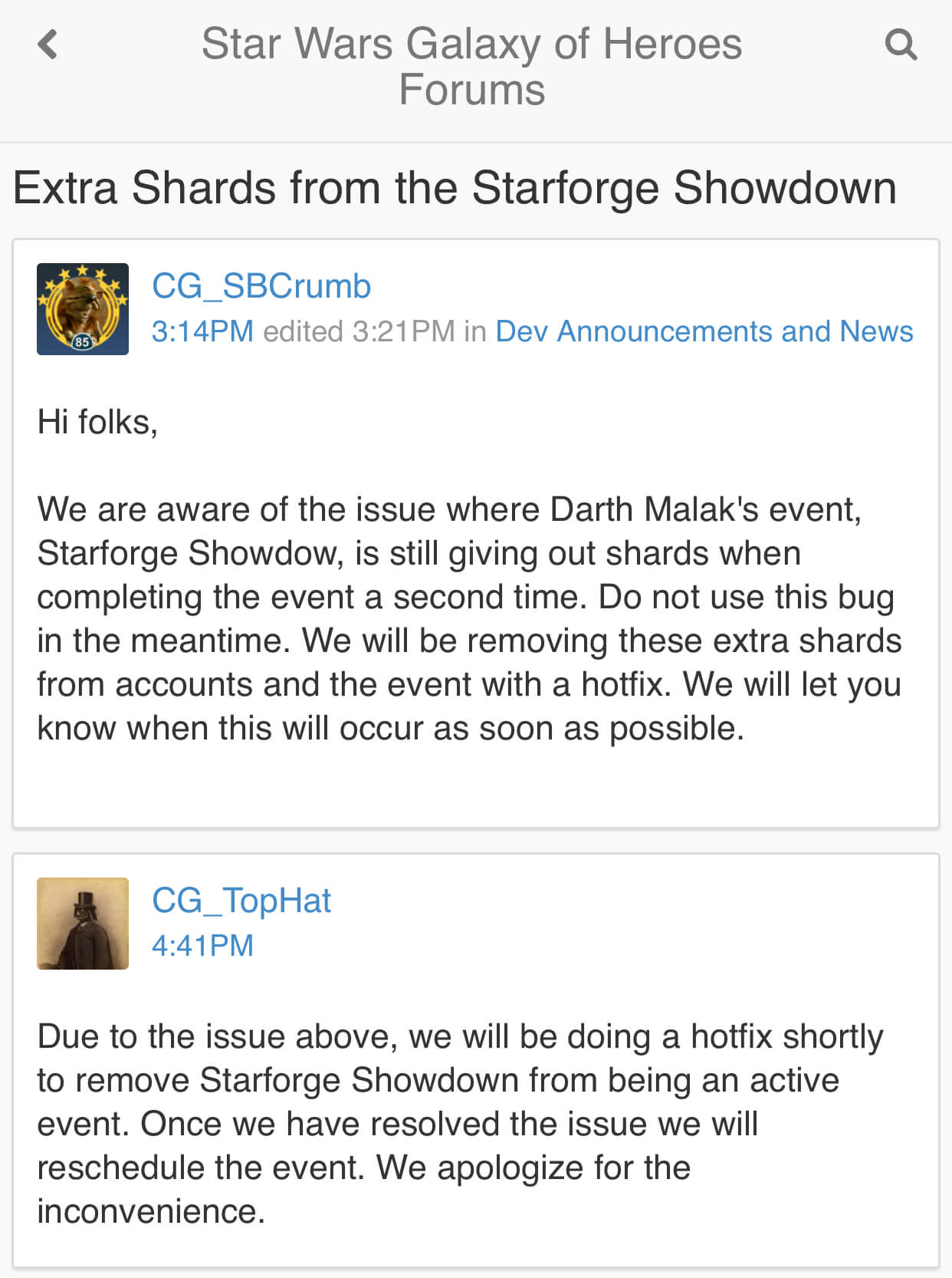 https://forums.galaxy-of-heroes.starwars.ea.com/discussion/216160/extra-shards-from-the-starforge-showdown#latest