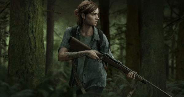 Ellie holding a rifle in a forest