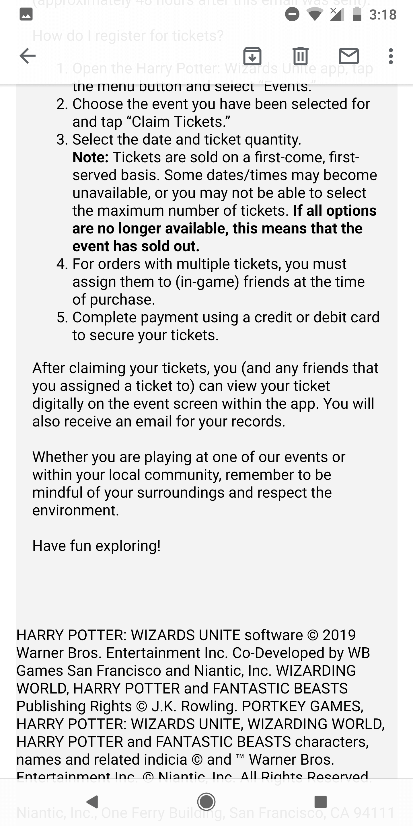 Ticketing email part two