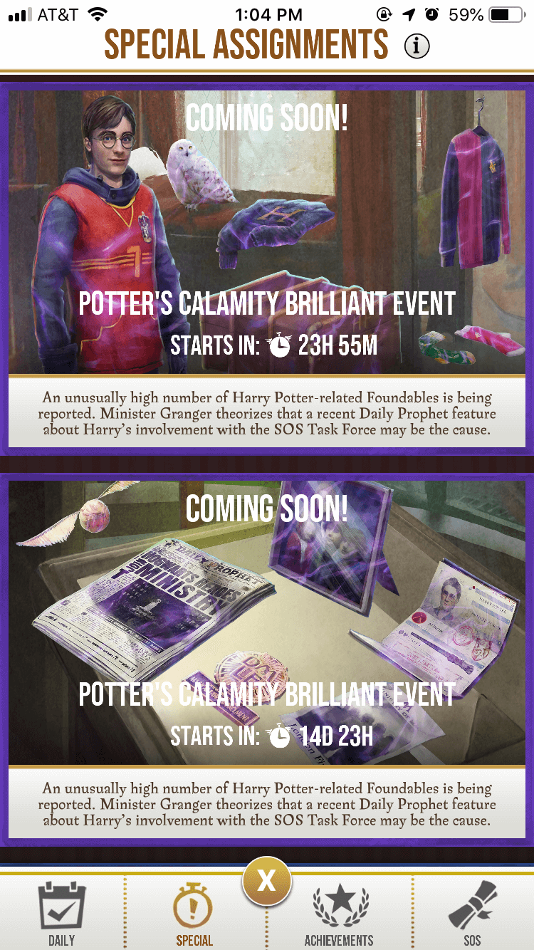 Potter's Calamity Brilliant Event Special Assignments