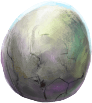 A white-grey egg with an opalescent shine.