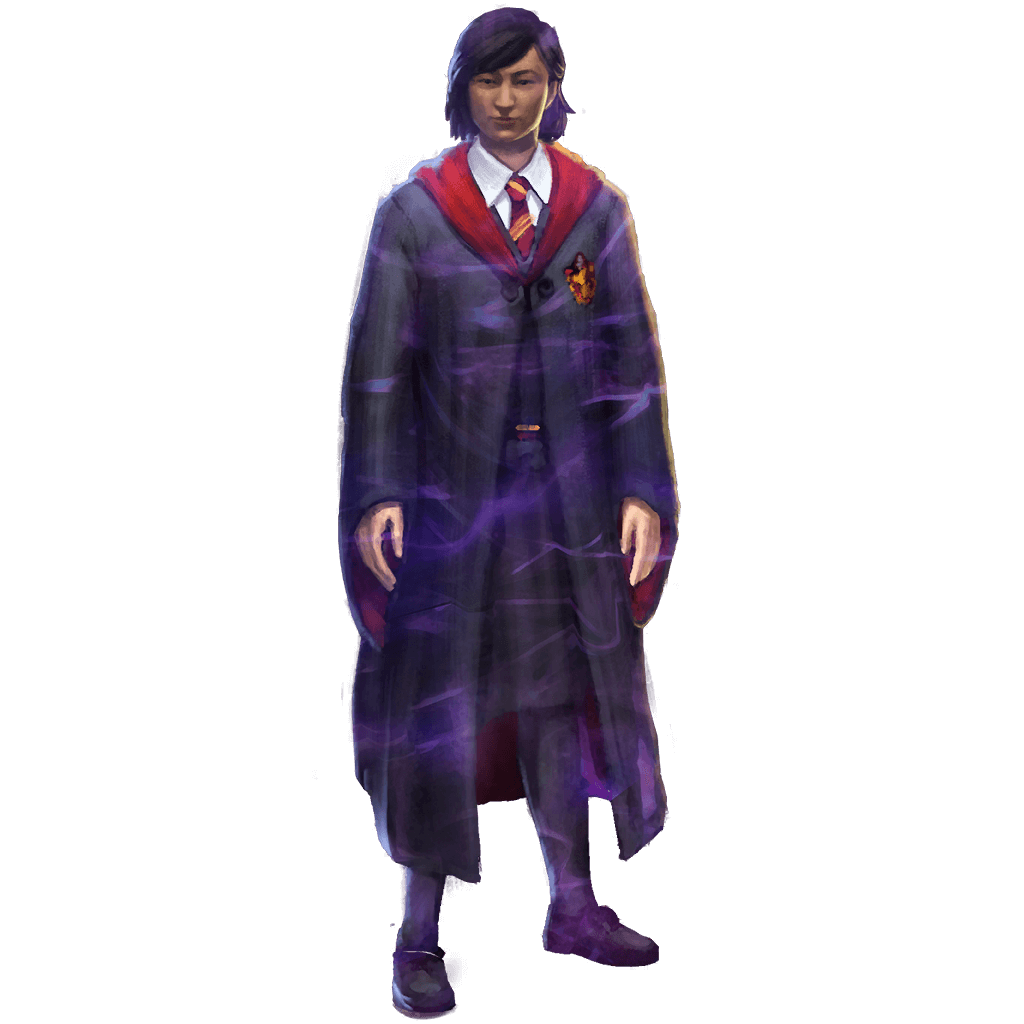 A female Gryffindor student wearing her school robes.