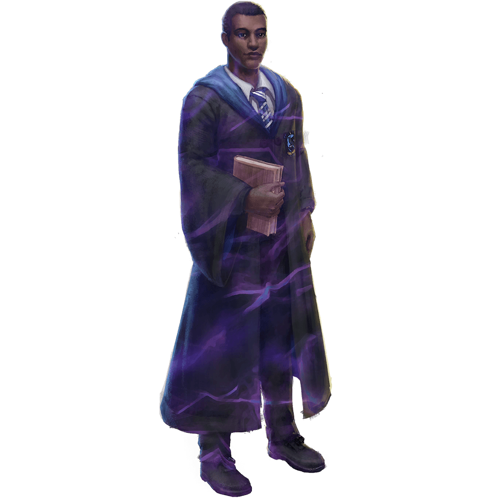 A male Ravenclaw student wearing his school robes and holding a book.