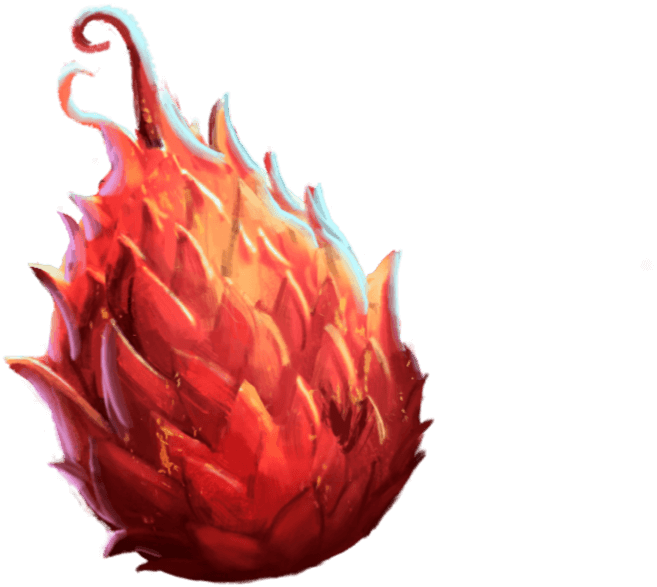 A scaly, red egg shaped like a dragonfruit.