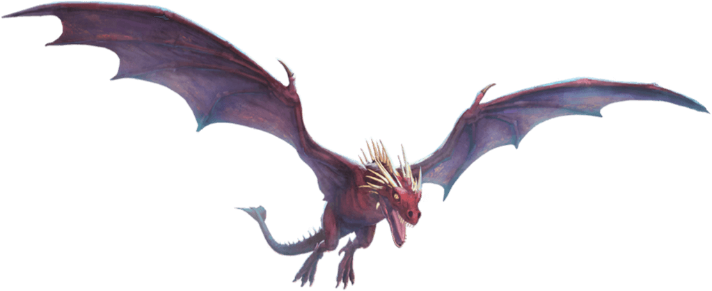 A red, horned dragon with two legs and its wings spread wide.