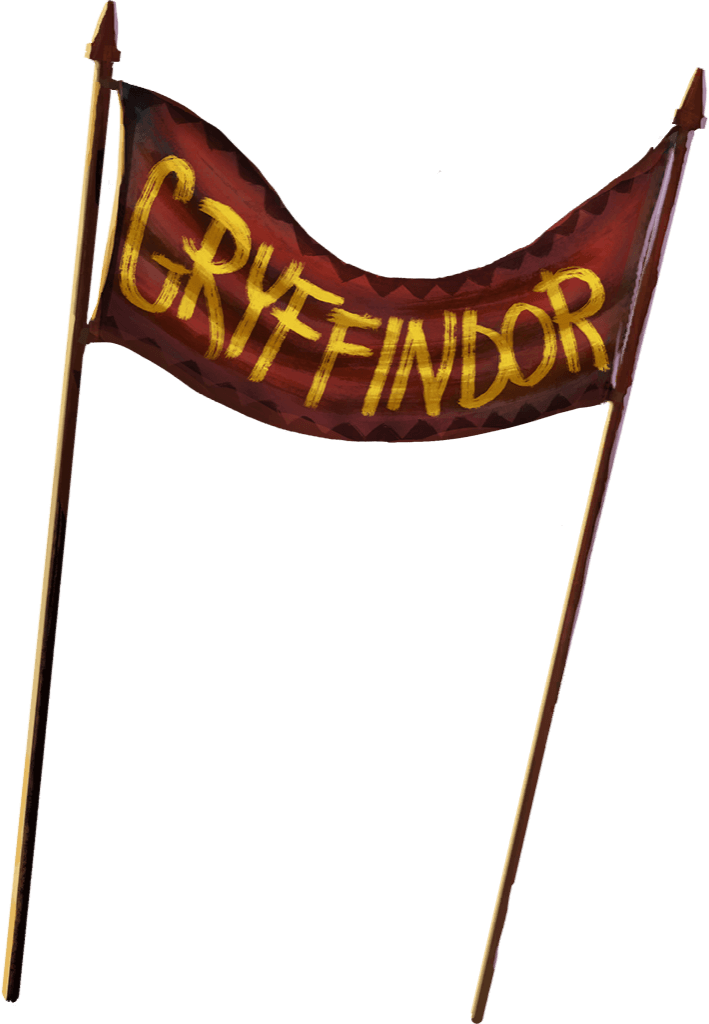 A red banner strung between two poles with Gryffindor written across it in gold letters