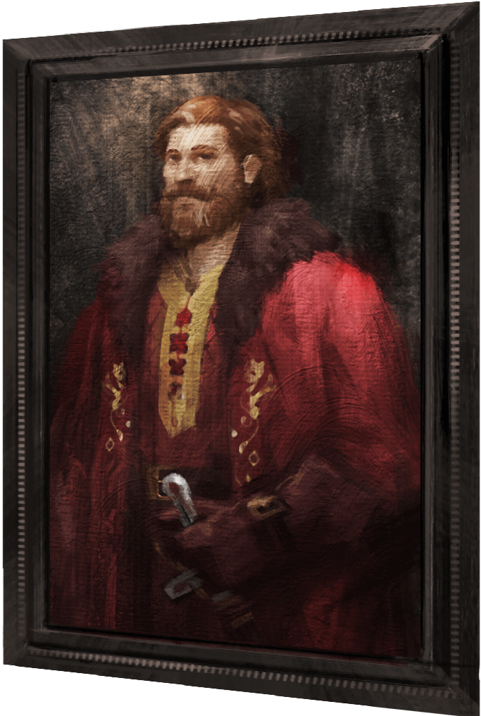 A portrait of a bearded wizard in red robes.