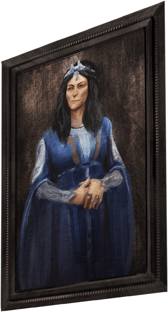 A portrait of a witch wearing blue robes and a tiara.