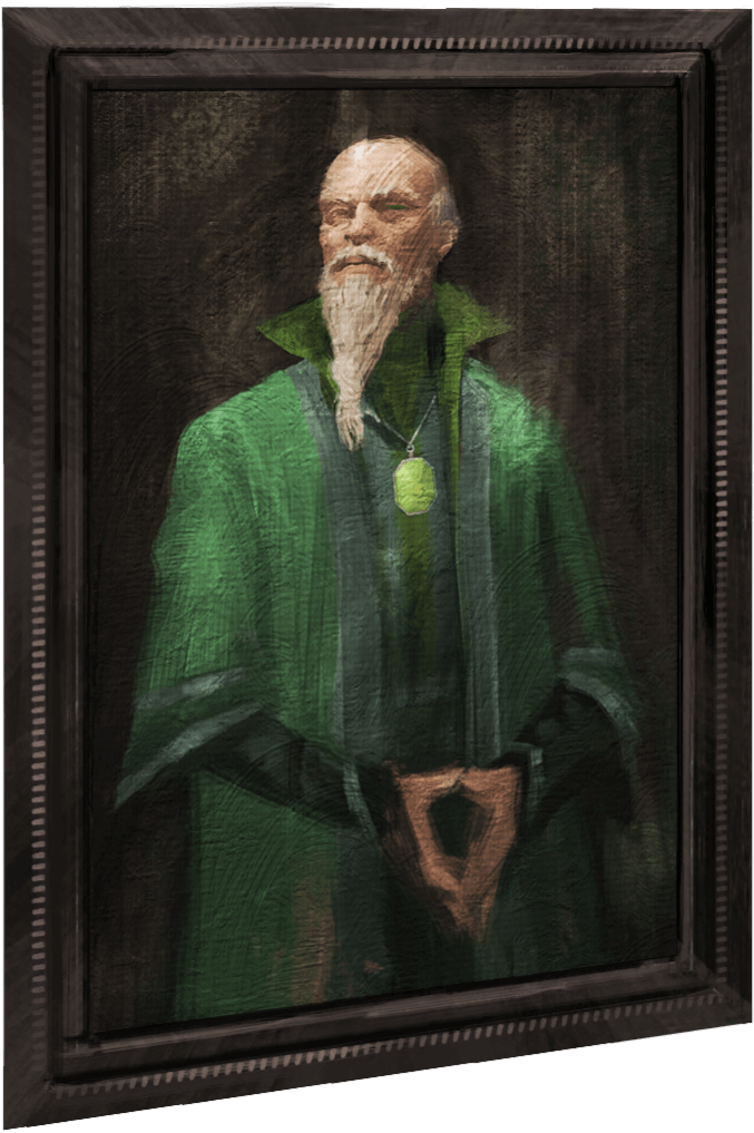 A portrait of a bald, bearded wizard in a green robe.