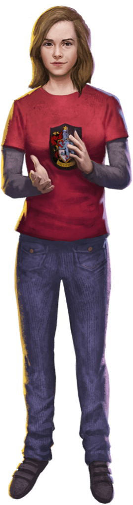Hermione wearing a red shirt and jeans.