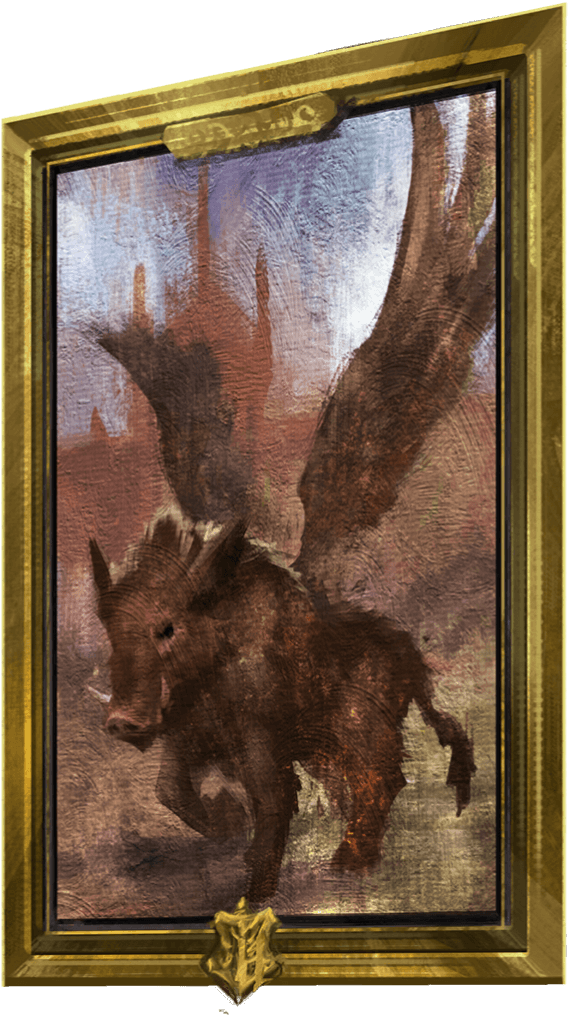 A portrait of a winged boar.
