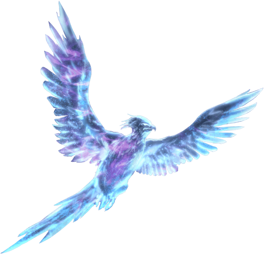 A silvery-blue spirit shaped like a phoenix.