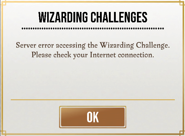 Error screen in Wizarding Challenges