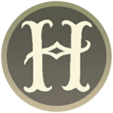 "A fancy capital ""H"". The Registry symbol for the Legends of Hogwarts family."