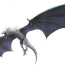 A white dragon with it's mouth open and wings spread.